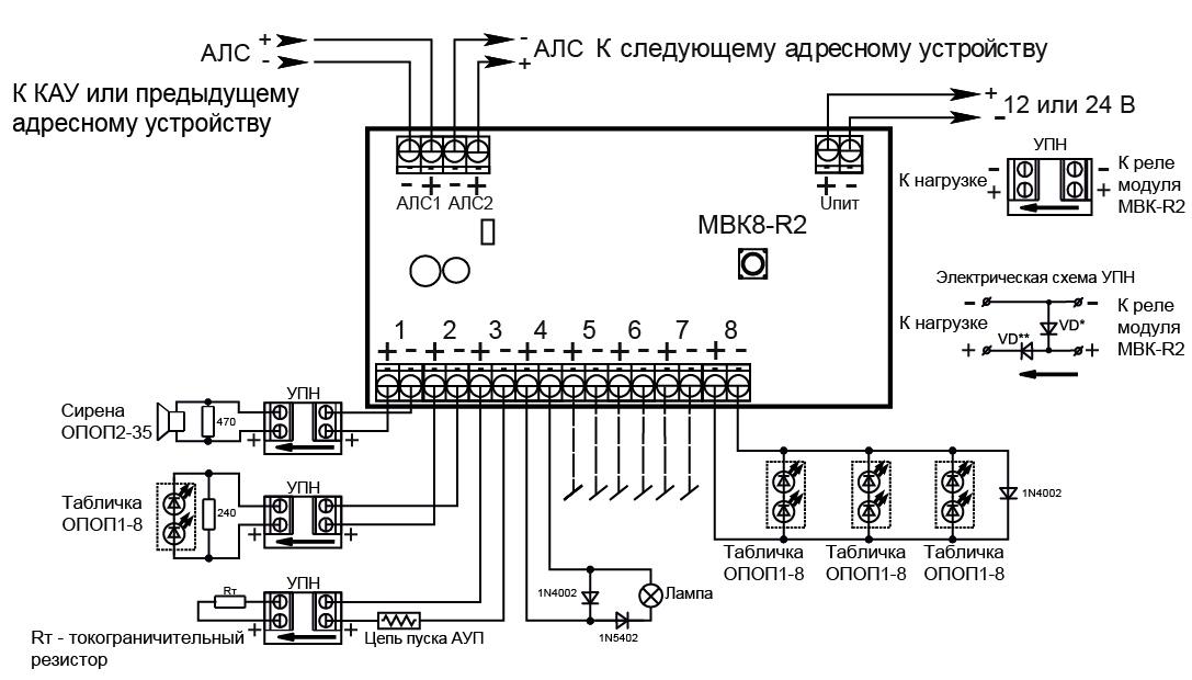 Электрическая схема подключения вывески
