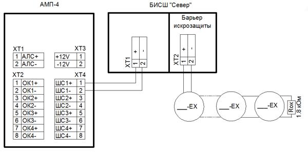 Схема подключения АМП-4 и