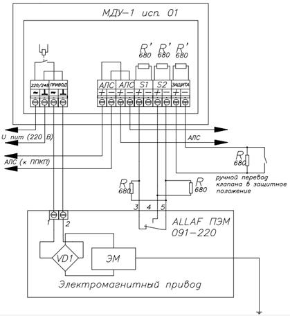 Модуль управления клапаном дымоудаления МДУ-1 исп.  01 предназначен для управления приводами клапанов дымоудаления...