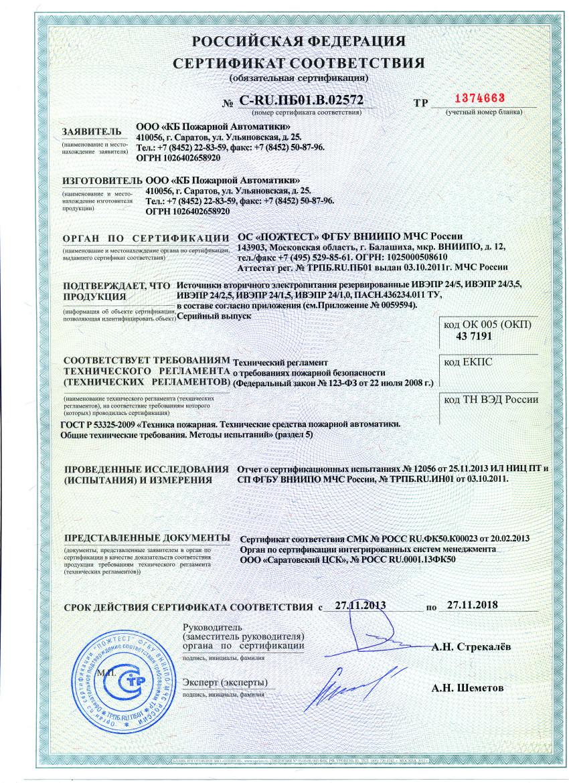 Сертификат продукта